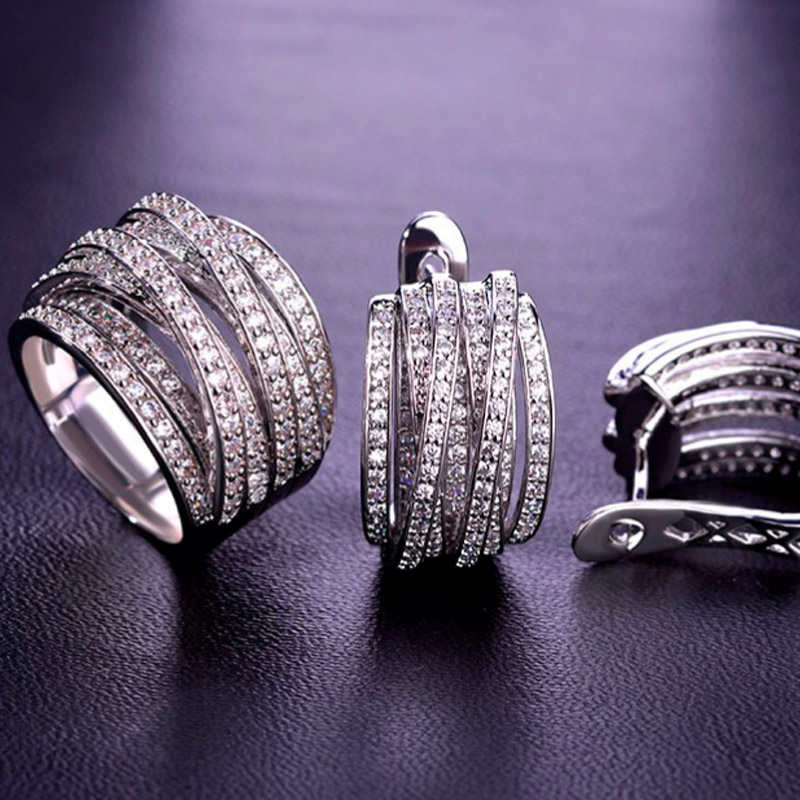 Blucome AAA Zircon Wedding Jewelry Sets Brand Women Zircon Earring Sets Copper Jewelry Sets Prong Setting Crystals Wedding Rings