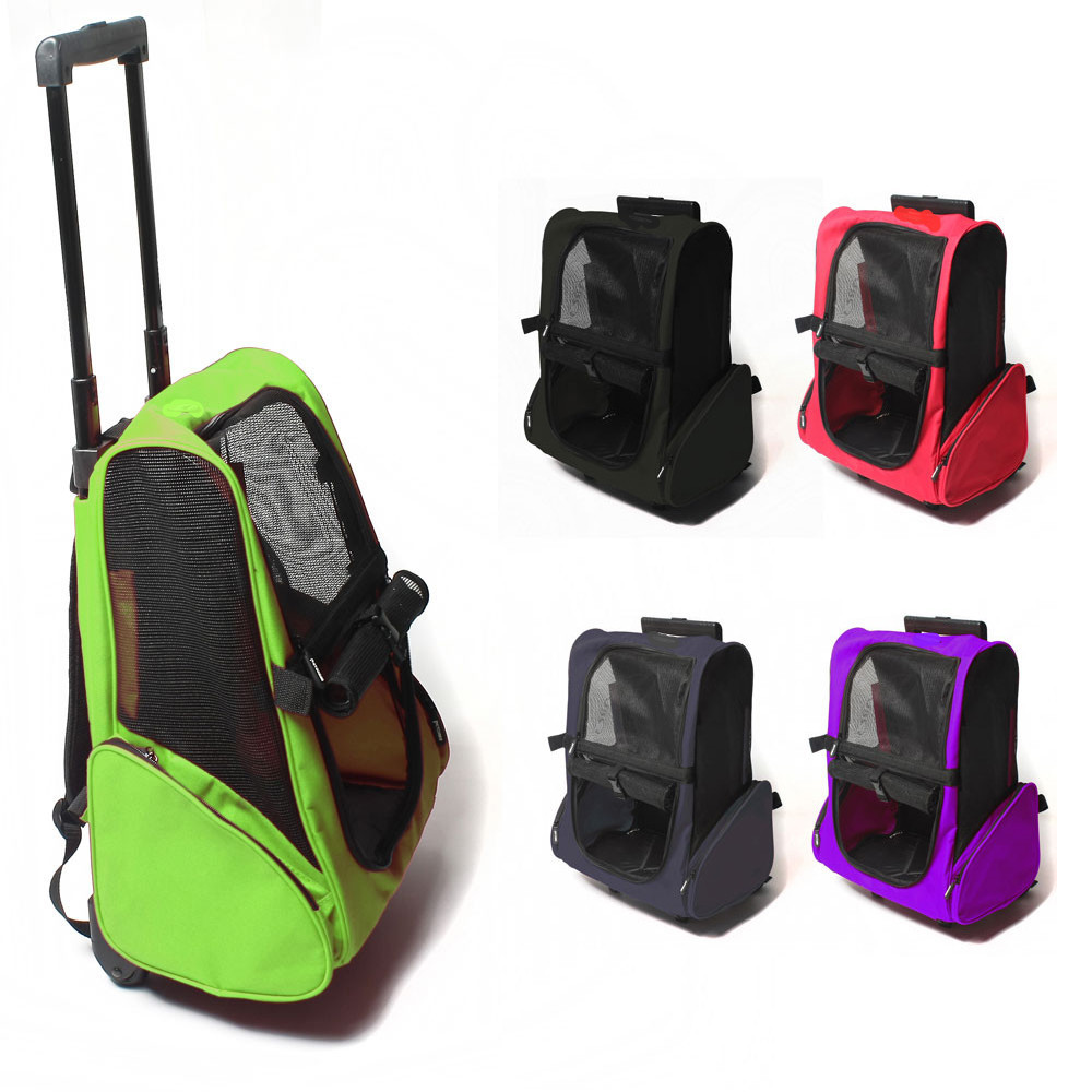 Small Pet Wheel Carrier Dog Cat Portable Strollers Backpack Breathable Puppy Roller Luggage Car Travel Transport Bag-in Dog Carriers from Home & Garden    1