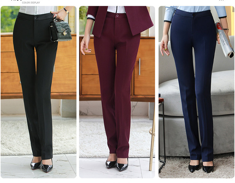 HTB18wvlaoT1gK0jSZFrq6ANCXXa6 - Autumn Business Casual Long Trousers Women Solid Black Blue Red Formal Pants Office Ladies Work Wear Straight Suit Pant 4XL