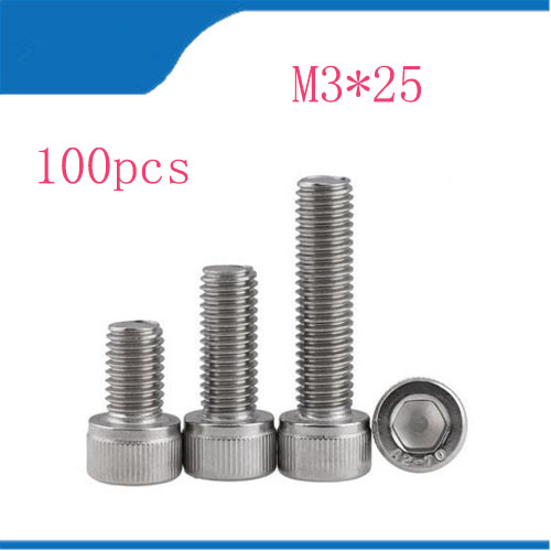 Free Shipping 100pcs/Lot Metric Thread DIN912 M3x25 mm M3*25 mm 304 Stainless Steel Hex Socket Head Cap Screw Bolts free shipping 100pcs lot metric thread din912 m4x12 mm m4 12 mm 304 stainless steel hex socket head cap screw bolts
