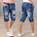 Горячая продажа 2017 детей летние шорты джинсы Дети обрезанные брюки Мальчиков случайные высокое качество denim лоскутные шорты 4-9 лет!