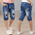 Hot sale 2017 children summer shorts jeans Kids cropped pants Boys casual high quality denim patchwork shorts 4-9 years !