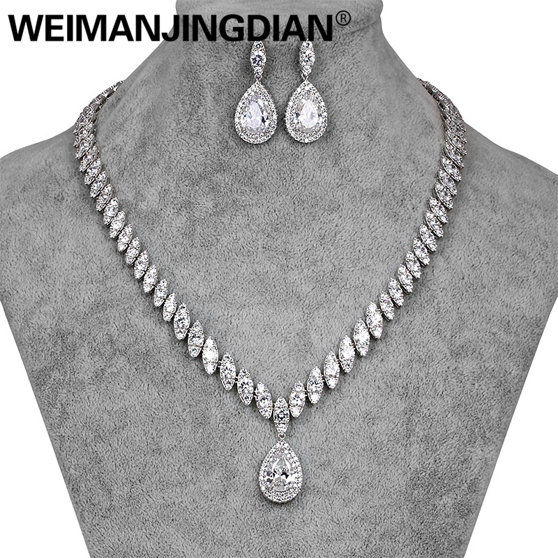 WEIMANJINGDIAN Brand Luxury Teardrop and Marquise Cubic Zirconia CZ Crystal Necklace Earring Wedding Bridal Jewelry Set teardrop faux crystal pendant necklace