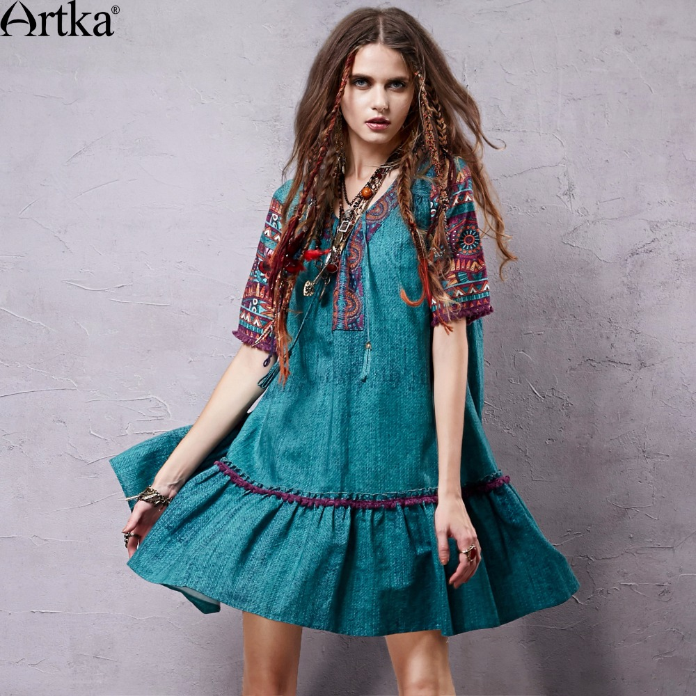 Artka 2018 Women's Summer Bohemian Printed Loose Style Tassels <font><b>Dress</b></font> Vintage V-neck Short Sleeve Cotton and <font><b>Linen</b></font> <font><b>Dress</b></font> LA15057X