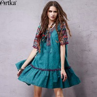 Artka Women S Spring New Mexico Series Ethnic Printed Loose Style Dress Vintage V Neck Short