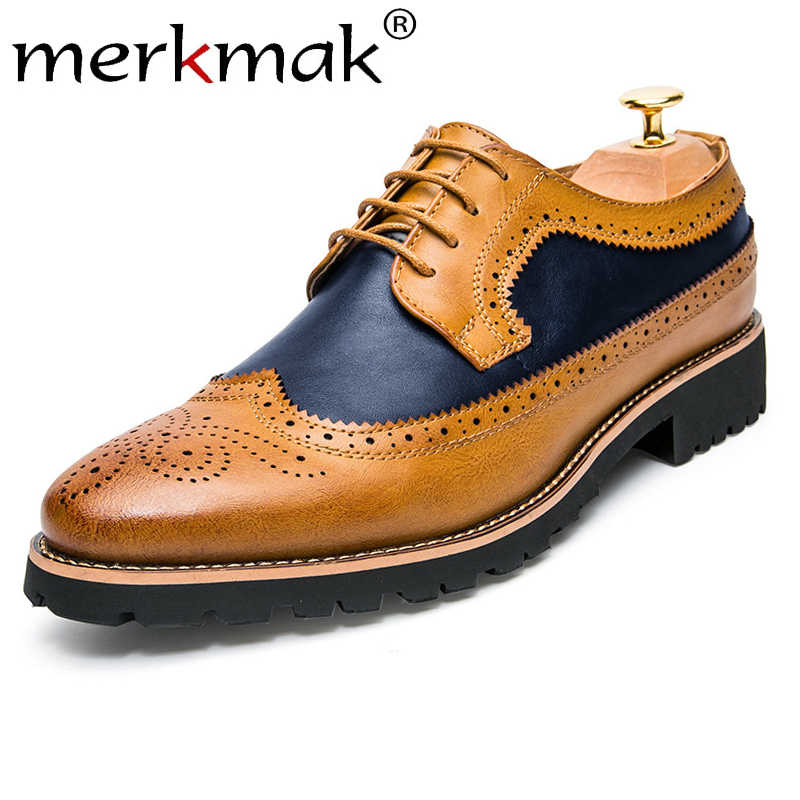 Merkmak รองเท้าหนังผู้ชาย Summer Casual Lace Up Oxfords Man ชุดรองเท้ารองเท้า Breathable Brogue ธุรกิจรองเท้าผู้ชาย falt