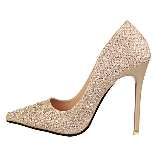 Silver Rhinestone Wedding Shoes High Heels Crystal