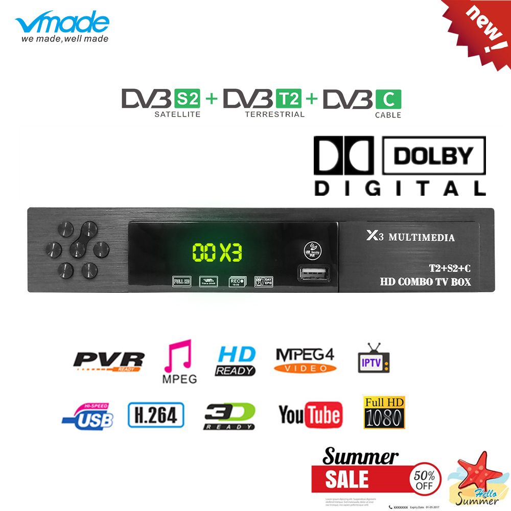 Vmade X3 + Combo DVB-S2/T2/C Receptor de Satélite TV Suporte Dolby Cccam Newcamd Mgcamd Powervu Chave TV turner USB Wi-fi Set Top Boxes