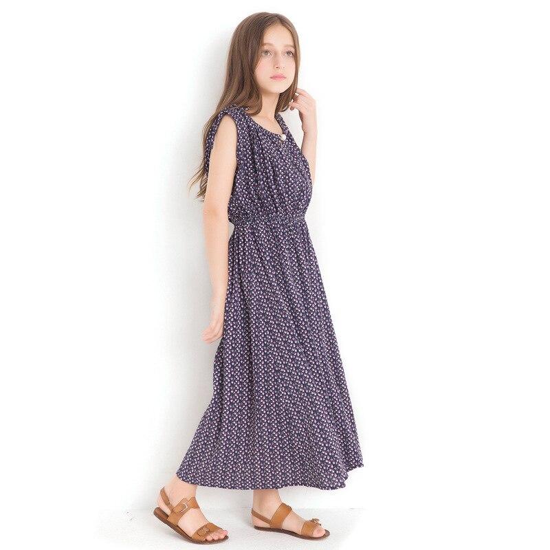 5cb6331a9e7 2018 Girl Floral Dress New Vest Dresses Large Children 14 16 Year Summer  Long Style Sleeveless Chiffon Sundress for Teen Girls-in Dresses from  Mother   Kids ...
