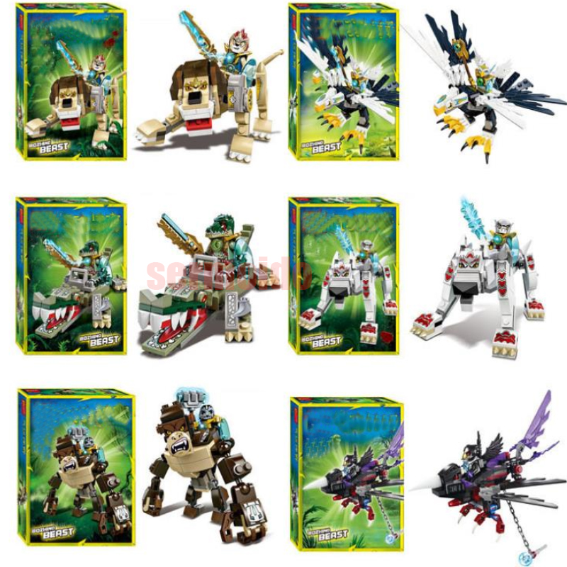 Legendary Animal Editon Chimaed Super Heroes Building Blocks Lion Croc Eagle Figures Bricks For Children Gift Kids Toys BKX23