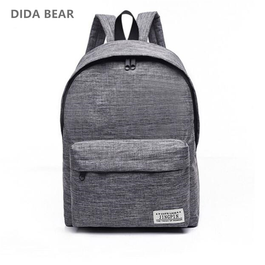 DIDA BEAR Brand Canvas Men Women Backpacks Large School Bags For Teenager Boy Girls Travel Laptop Backbag Mochila Rucksack Grey