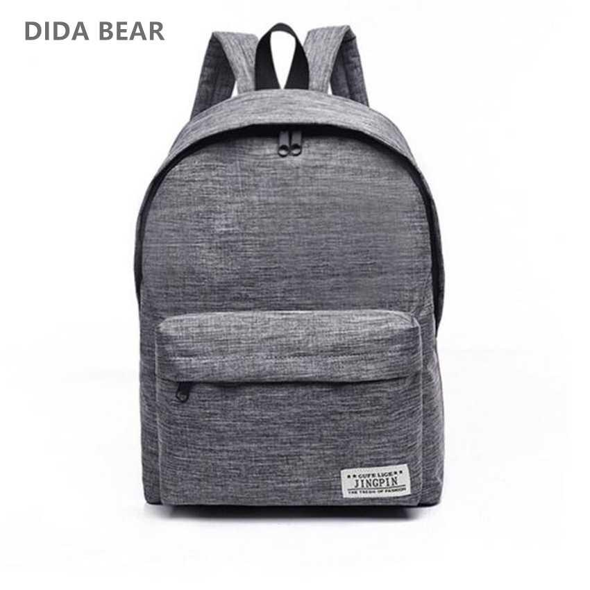 a38fe5548227 DIDA медведь бренд холст для мужчин женщин рюкзаки большой школьные ранцы  для подростка мальчика обувь девочек