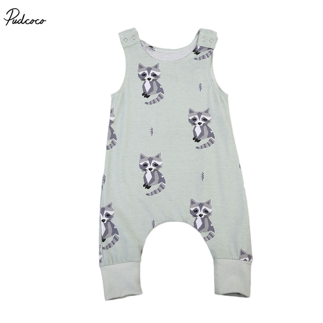 Cute 2017 New Summer Newborn Baby Boys Girls Racoon   Romper   Sleeveless Jumpsuit Outfits Clothes Set