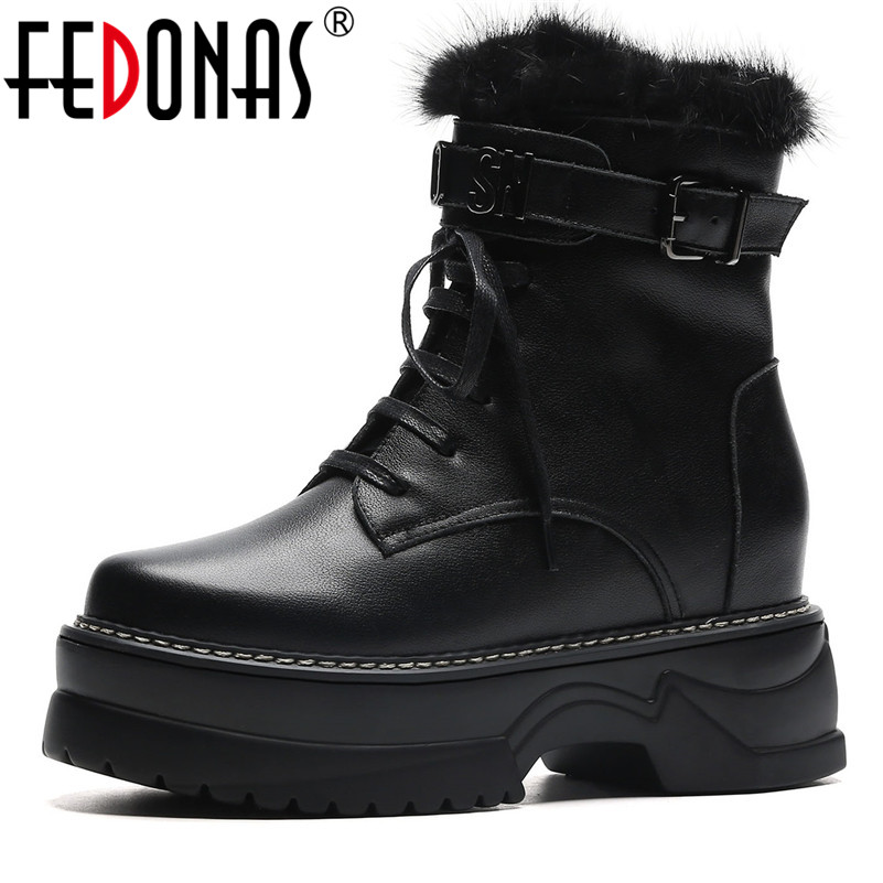 FEDONAS Brand Women Genuine Leather Ankle Boots High Heels Buckles Autumn Winter Short Martin Shoes Woman Platforms Basic Boots fedonas 2019 brand women buckles ankle boots thick heels autumn winter motorcycle boots platforms short martin shoes woman