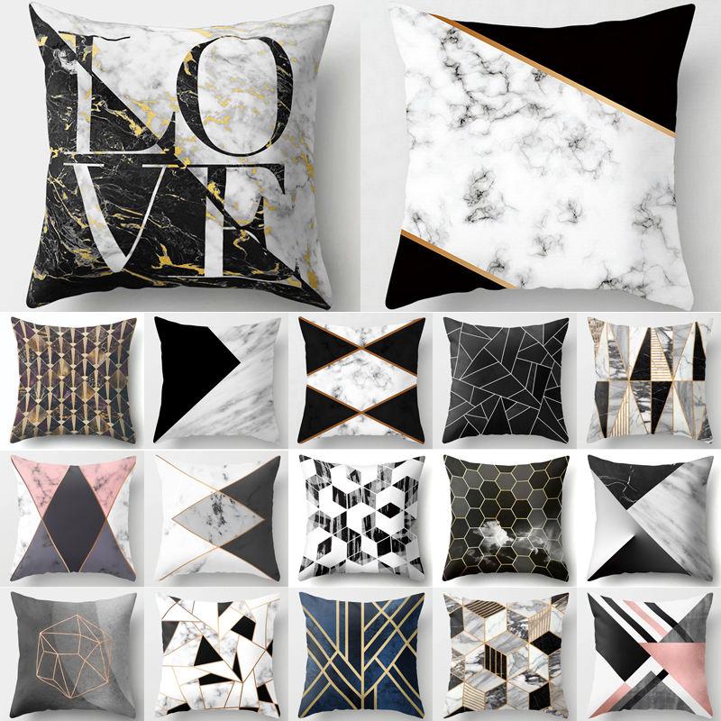 Gold Geometric Marble Sofa Decorative Cushion Cover Pillow Pillowcase Polyester 45*45 Throw Pillow Home Decor Pillowcover 40507