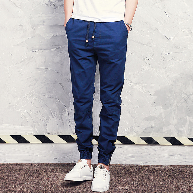 2017 Venta Caliente Algodón Primavera Otoño Mens Joggers Pantalones Largos Casual Solid Ankle atado Diseño Jóvenes Hombres Populares Pantalones