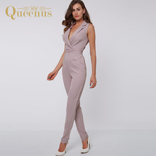 Queenus 2017 Women Jumpsuits Sleeveless Notched Lapel Elegant Lady Rompers High Waist Straight Trousers Women Slim Jumpsuits