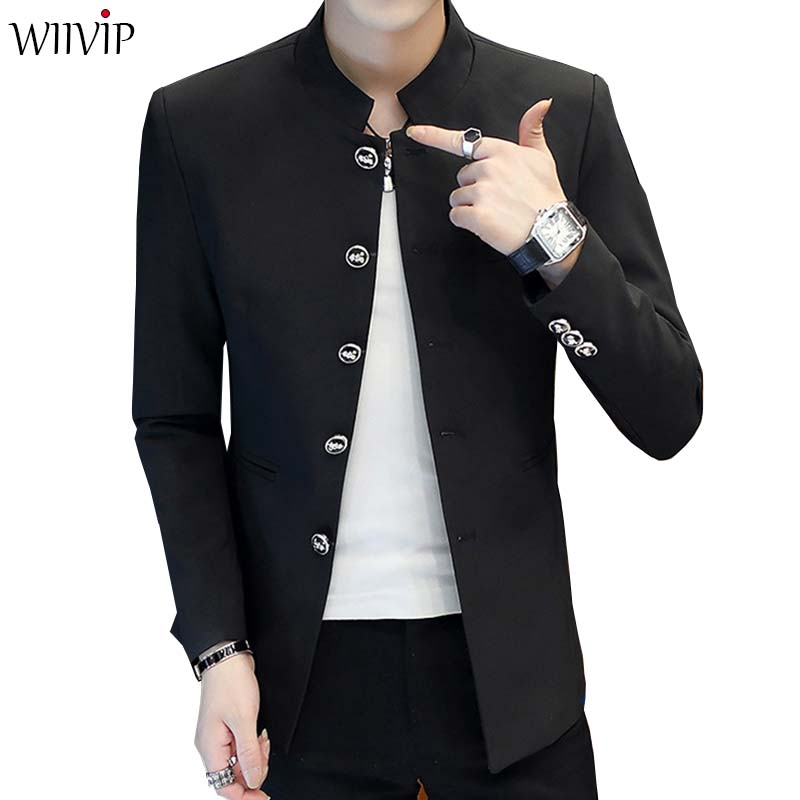 Spring Autumn Fashion Man Stand Collar Solid Full Sleeve Slim Handsome Blazer Coat Male Casual Blazer Jacket YW486