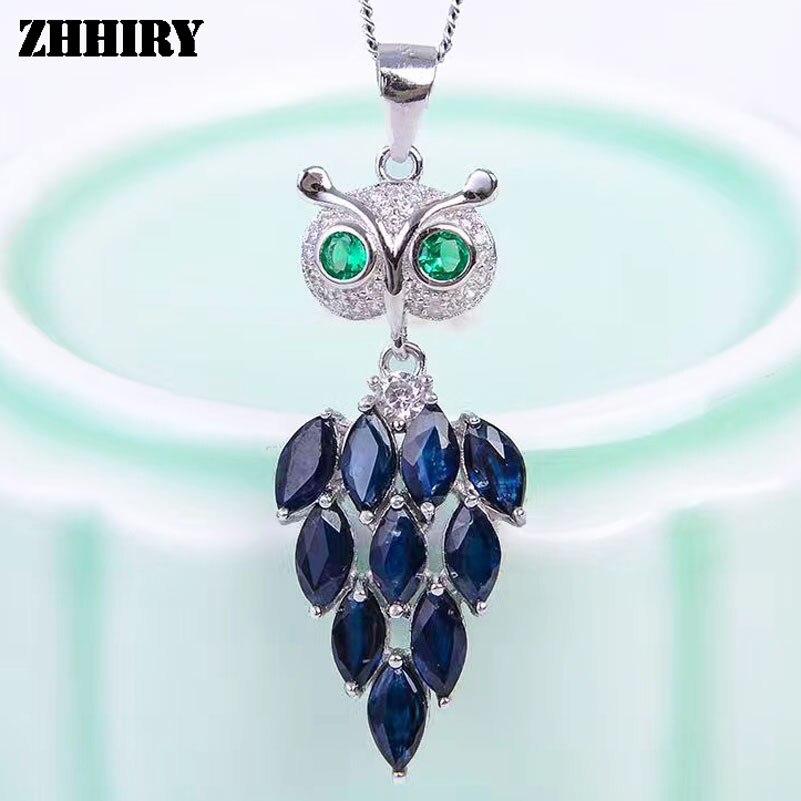 ZHHIRY naturel saphir collier de pierres précieuses pendentif véritable solide 925 en argent Sterling pendentifs vrais bijoux fins hibou oiseau forme
