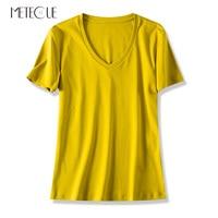 Casual 100% Double sided Mercerized Cotton Tee Shirts Women T shirt Basic V Neck Short Sleeve TShirt Women Tops Summer 2019