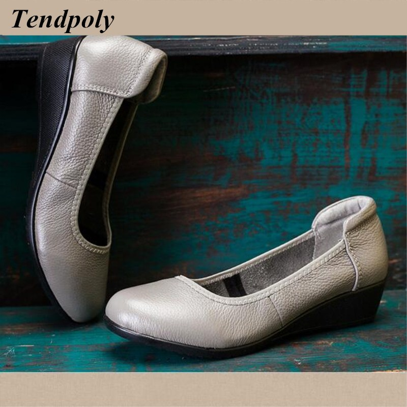 New retro fashion handbags spring and autumn handmade genuine leather large size women's shoes hot section casual work shoes