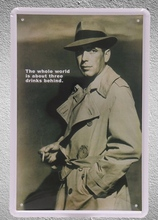 1 pc Humphrey Bogart  actor Hollywood Film Movies Beer bar Tin Plate Sign wall man cave Decoration Art Poster metal vintage