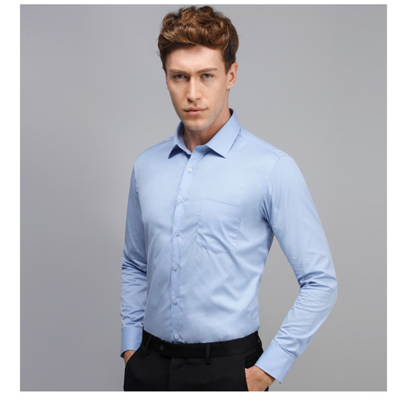 2019 Men Dress Shirt Long Sleeve Slim Brand Man Shirts Designer High Quality Solid Male Clothing Fit Business Shirts