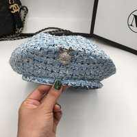 Spring and summer thin style small fragrant wind beret British style vintage knitted hat temperament painter cap elegant blue