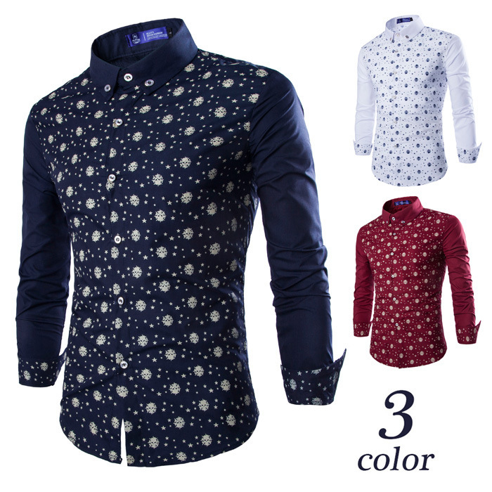 Hot 2015 New Fashion Normcore Printed Star Pattern Slim Men Shirts ...