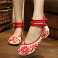Old Peking Women Shoes Chinese Traditional Flat Heel with Embroidery Comfortable Soft Shoes Dancing Shoes Red and Blue Colors