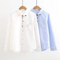 Dioufond Leuke School Shirts Meisjes Blauw Wit Blouses Vrouwen Casual Stijl Tops Vrouwelijke Katoen Lange Mouw Herfst Vrouwen Blusas