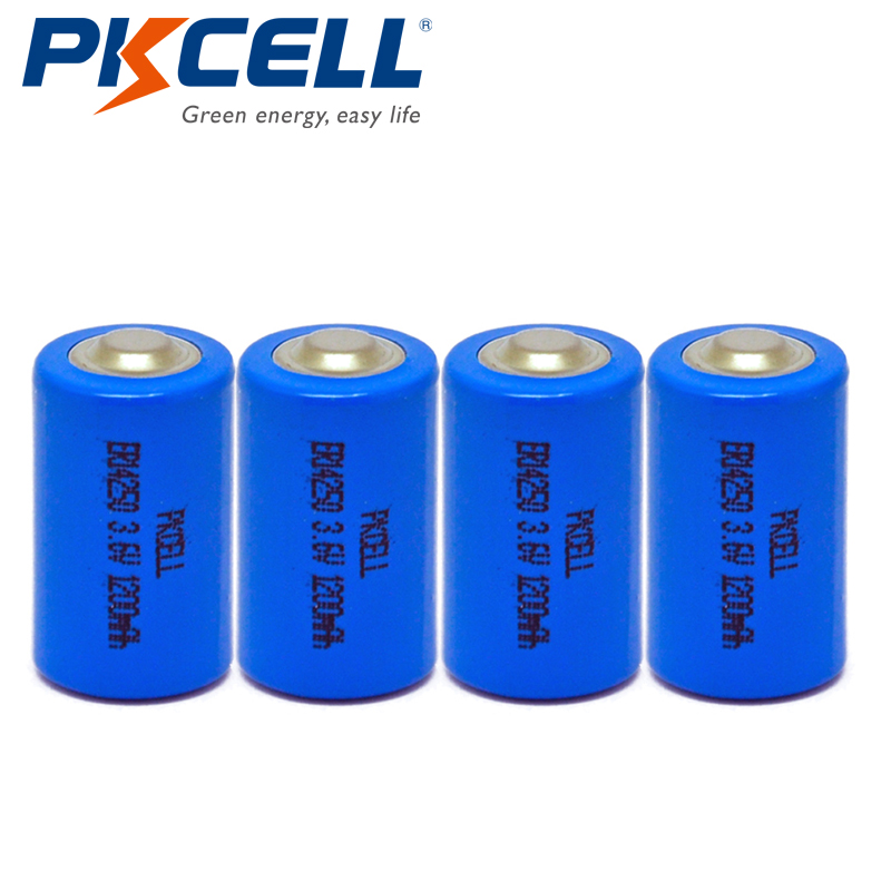 4Pcs/LOT PKCELL ER14250 <font><b>1/2AA</b></font> 3.6V 1200mAh Li-SCLO2 Lithium <font><b>Battery</b></font> <font><b>Batteries</b></font> Non-recharbeable image