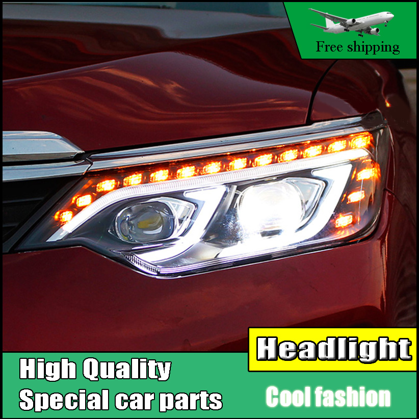Car Styling Head Lamp Case For Toyota Camry V55 Headlights 2015 2016 LED Headlight DRL H7 HID Xenon Low Beam Flowing Turn Signal brand new original replacement hid bi xenon projector headlights for toyota camry 2012 2014