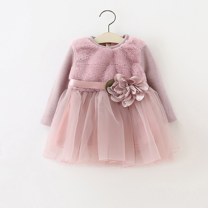 Baby Girls Winter thickening Princess Dresses Children Dress Lovely Kids Clothing Girls Dress Fall Long Sleeve 2016 spring winter children baby kids girls stripe princess lace mesh dress girls fall sleeveless dresses kids dresses for girls