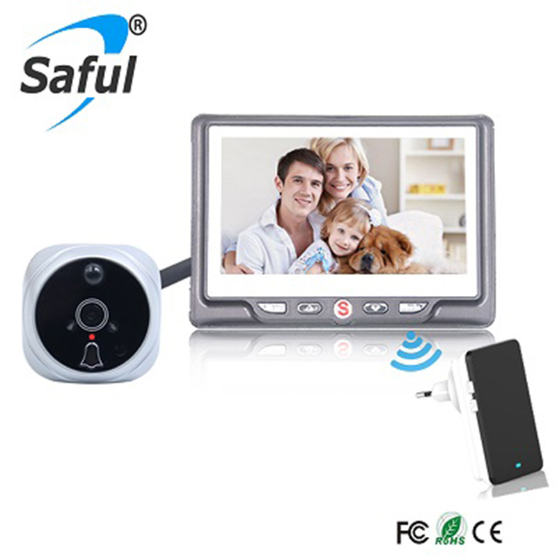 Saful 4 3 LCD Color Screen Digital Door Peephole Viewer Camera Doorbell Viewer with Video Record