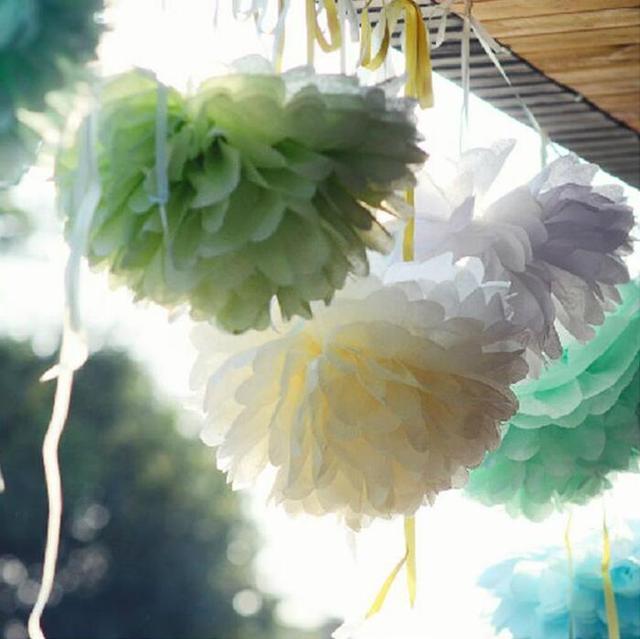 Aliexpress Buy 10pcslot 820cm Tissue Paper Pom Poms Diy