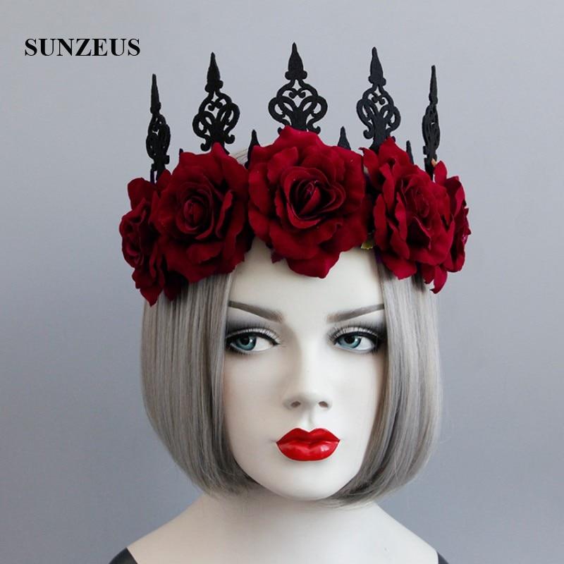 Red And Black Wedding Hair Style: Dark Red Flowers Vintage Headband For Women Black Crown