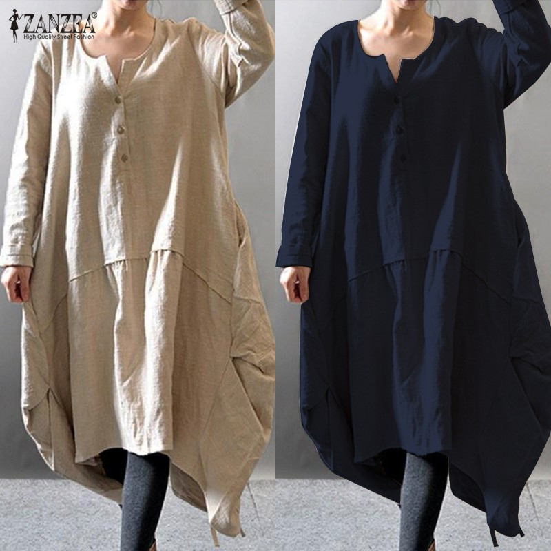 ZANZEA 2018 Women Asymmetric Dress Vintage Linen Long Vestidos Female O Neck Long Sleeve Button Solid Baggy Dress Plus Size