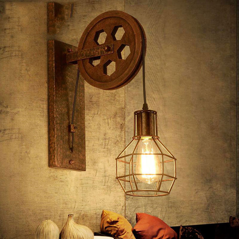Image 2 - Vintage Home Sconce Light Loft Retro Wall Lamp Lifting Pulley Wall Light Industrial Style Iron Lanterns Suspension Pendant LightWall Lamps   -