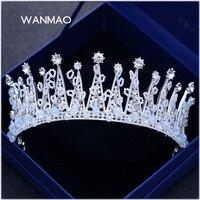 O novo cristal grande coroa coroa noiva cocar coroa de pérolas de imitação da jóia do vestido de casamento acessórios do casamento HA0109