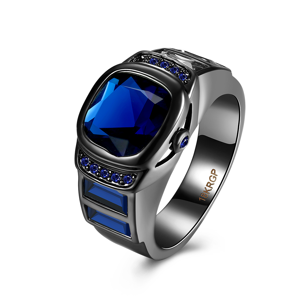 Blue Crystal Watch Ring Black Gun Color Rings For Women Men Jewelry jewellery Anel Anillos Aneis Bague Love Gift Wholesale