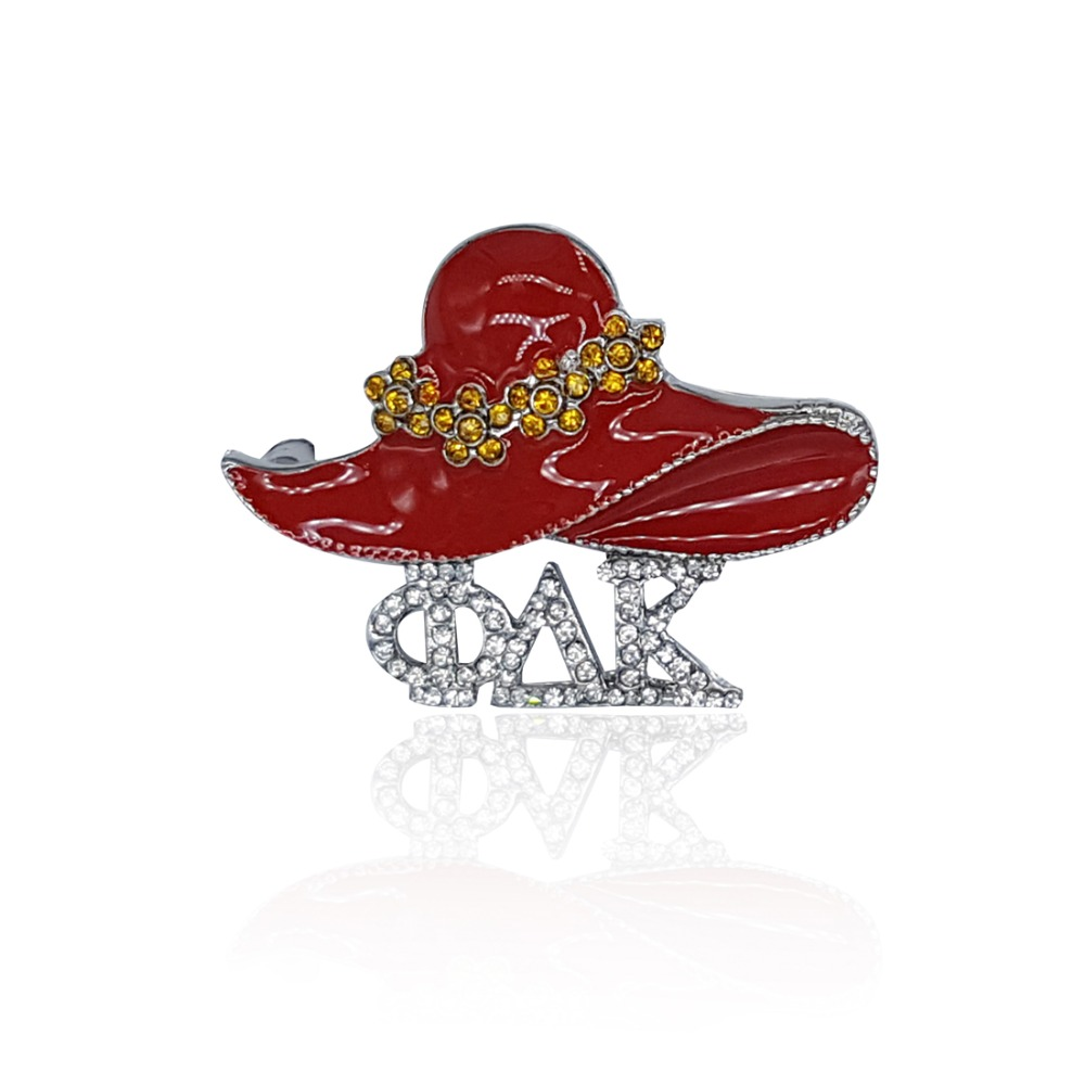 new arrival rhinestone greek letters lapel pin with a red hat on topchina