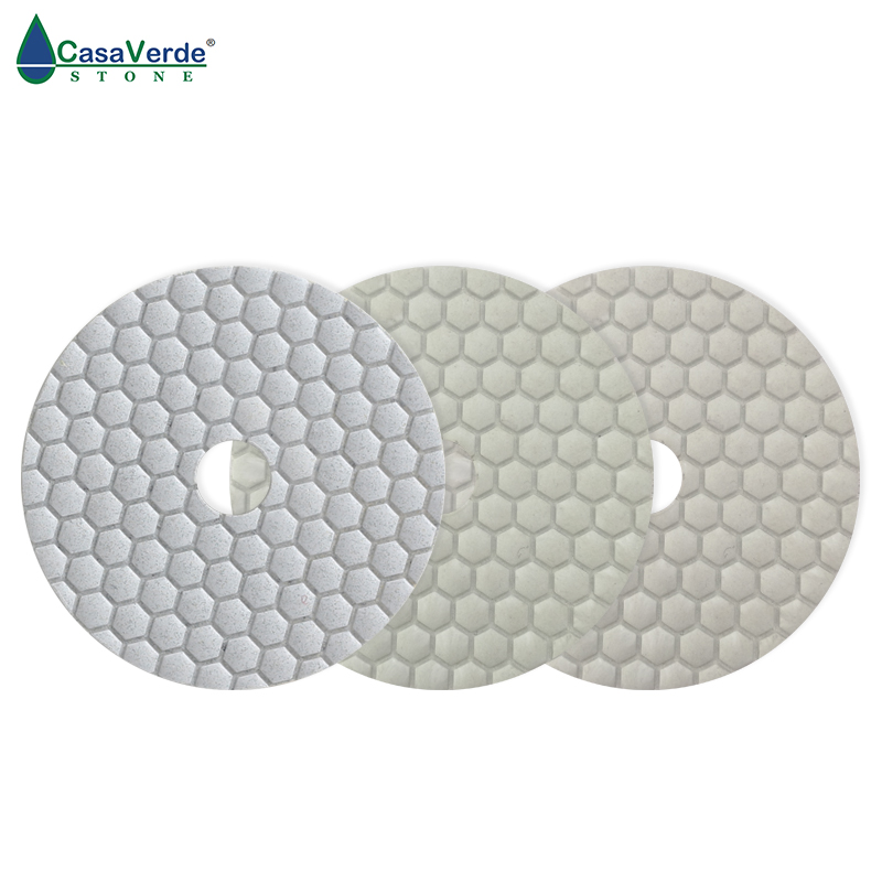 цена на Hot sell DC-HW3PP02 4 inch dry 3 step 100mm white diamond polishing pads for stone, marble and granite
