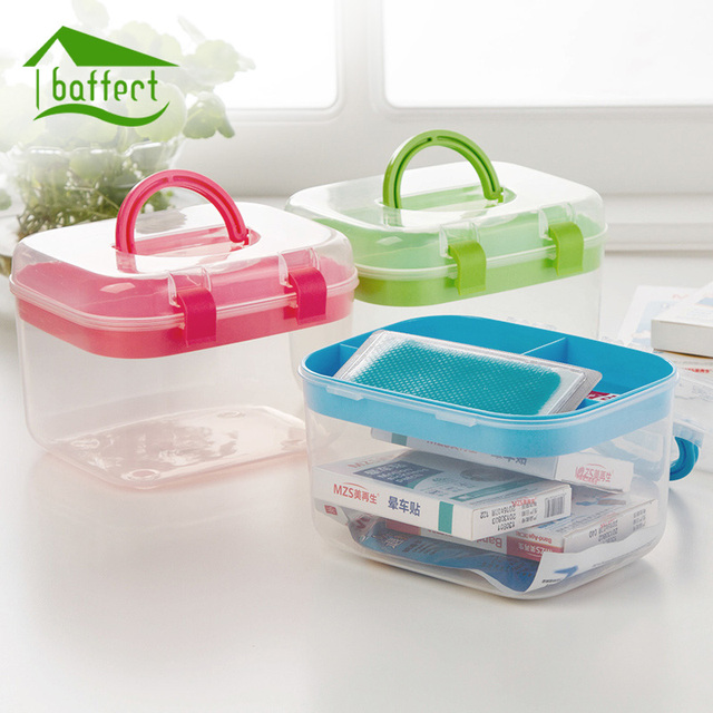 Home First Aid Box Medication Storage Boxes Cosmetic Jewelry Organizer  Office Storage Desk Makeup Case Plastic