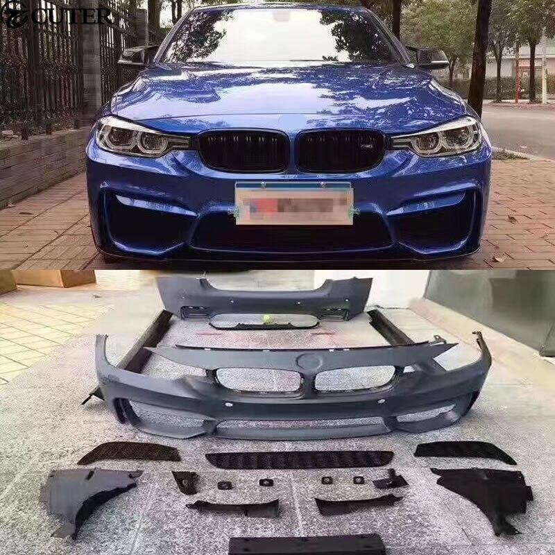 F30 F35 M3 M4 kit PP Unpainted frente Do corpo do Carro saias do lado do amortecedor traseiro para BMW F30 F35 M3 M4 13-15