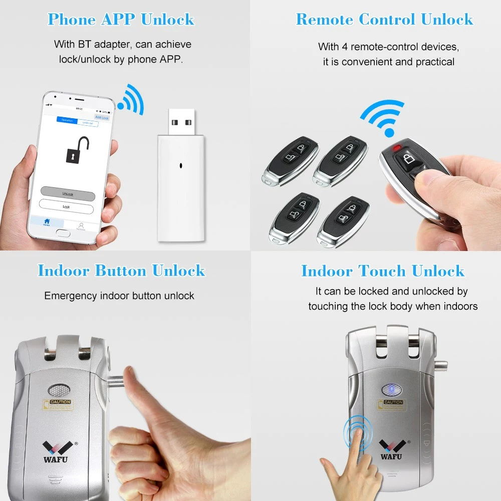 Image 2 - WAFU 010U Wireless Security Invisible Keyless Entry Door Intelligent Lock iOS Android APP Unlocking with 4 Remote Keys-in Electric Lock from Security & Protection