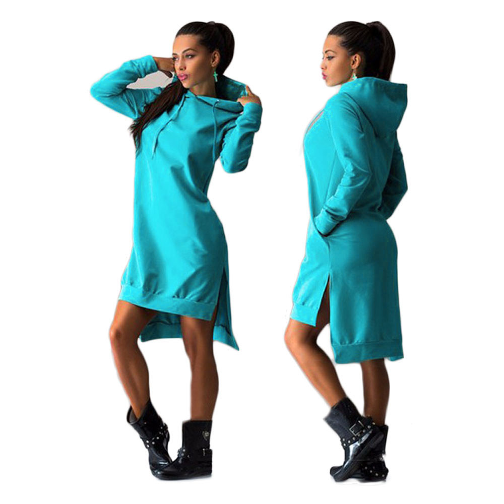 2017 Hot Winter Hoodie Dress Cotton O neck Long Sleeve Fashion Casual Style Irregular Solid Hooded