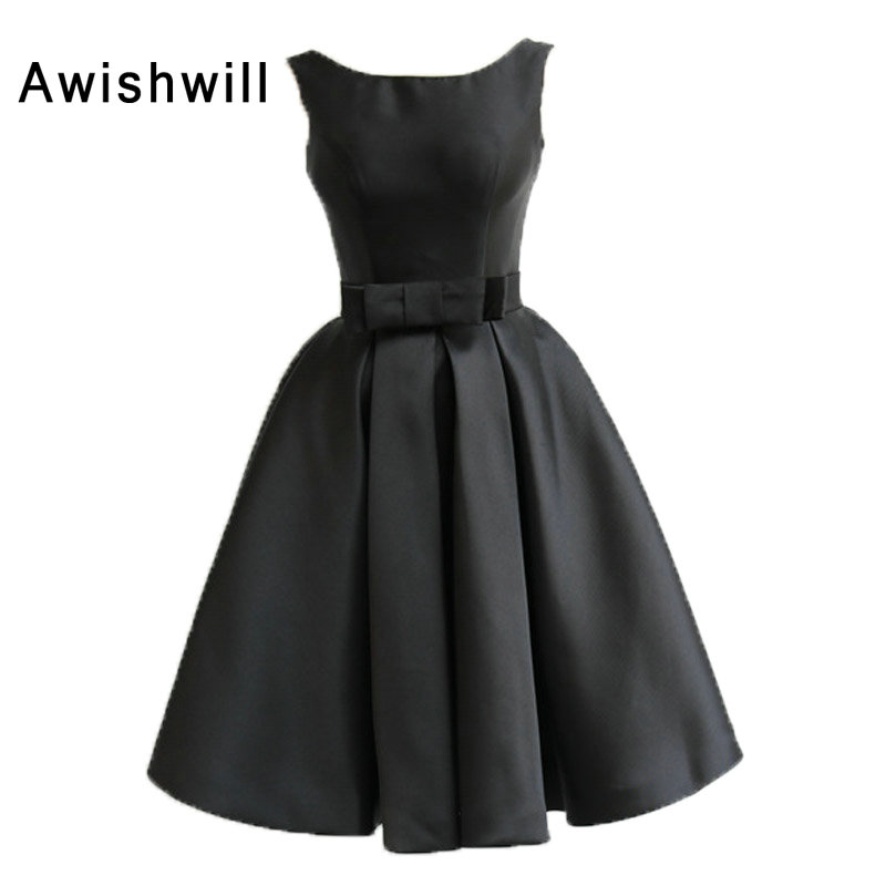 Sexy Open Back Little Black Dress Sleeveless Satin With Bow Cocktail