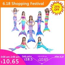3PCS/Set HOT Kids Girls Bikini Set Mermaid Tails with Fin Swimsuit Bikini Bathing Suit Dress for Girls Children Beach Cosplay