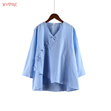 2017 Women Plus Size Shirt Blouse Solid Color Classical Style Fashion Button Cotton Linen Shirts Cheap Clothes China Tang Suit